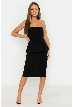 Womens Black Petite Bandeau Peplum Midi Dress