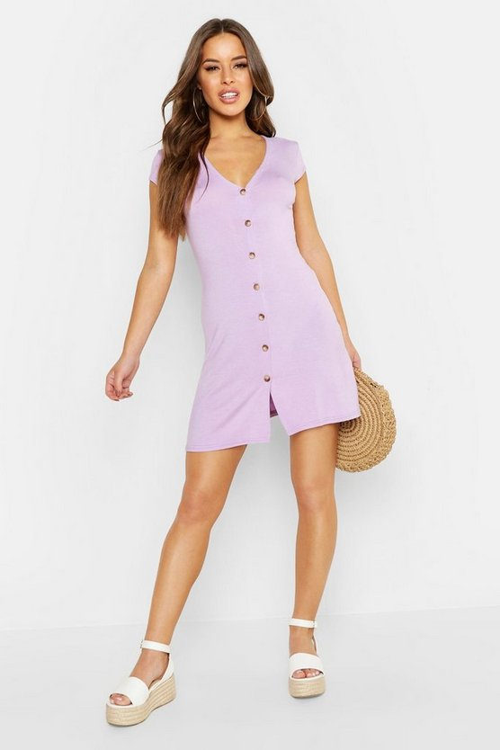 Womens Lilac Petite Cap Sleeve Button Through Swing Dress