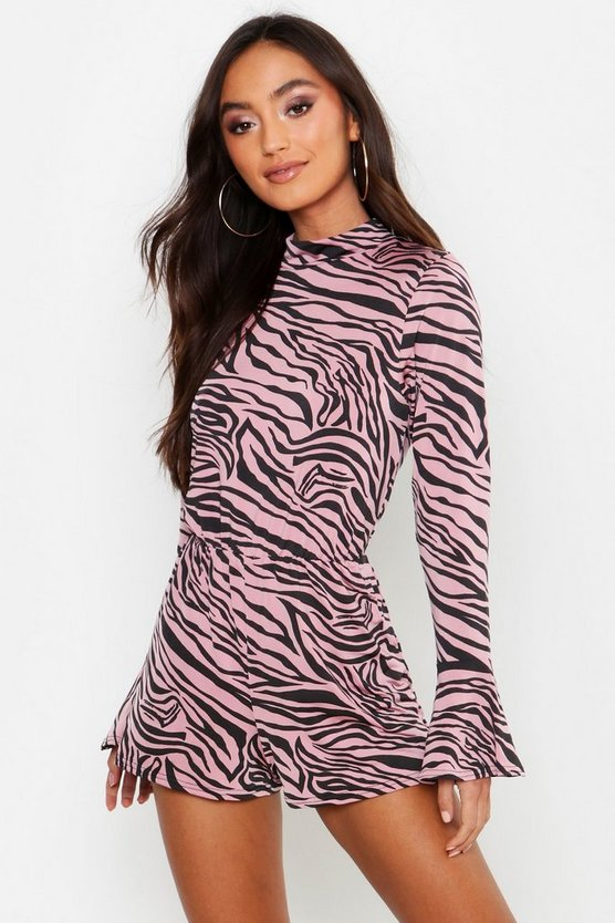Womens Petite Pink Tiger Print High Neck Flare Sleeve Playsuit