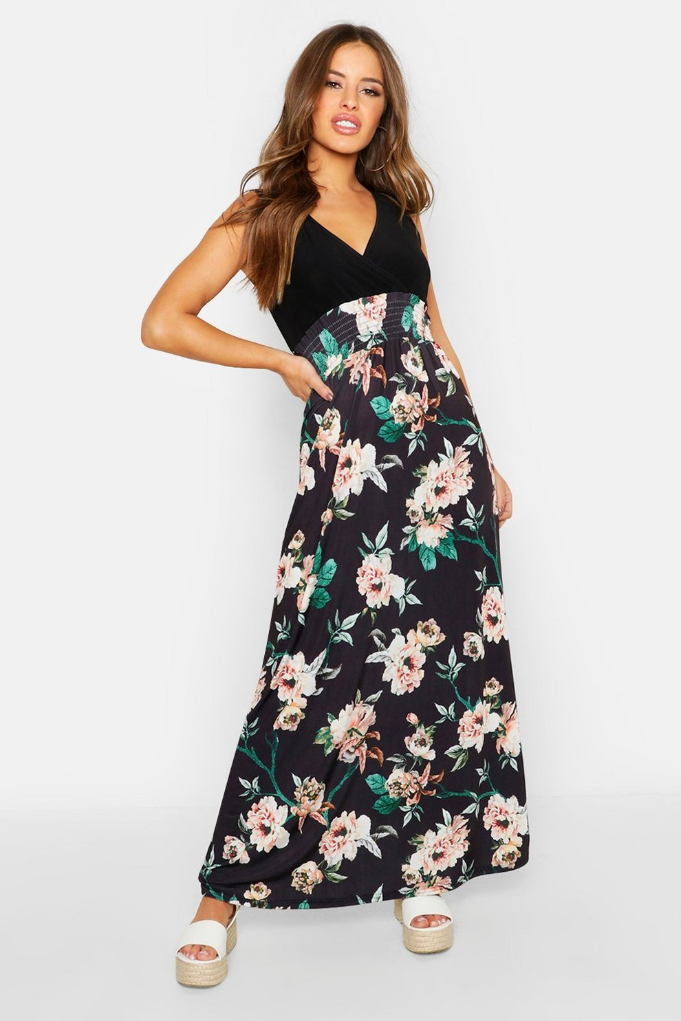 2732d3e91d1 Womens Black Petite Floral Print Maxi Dress. Hover to zoom