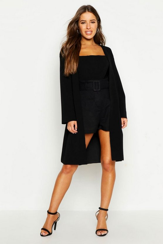 Womens Black Petite Collarless Wrap Duster Jacket