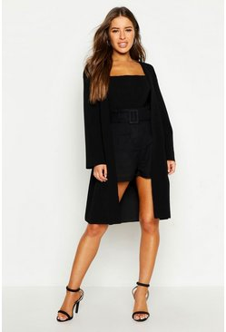 Black Petite Collarless Wrap Duster Jacket