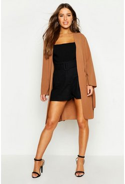 Womens Camel Petite Collarless Wrap Duster Jacket