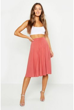 Womens Antique rose Petite Slinky Pleated Midi Skirt