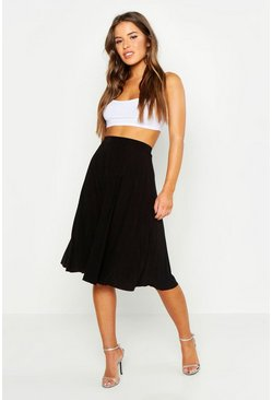 Womens Black Petite Slinky Pleated Midi Skirt