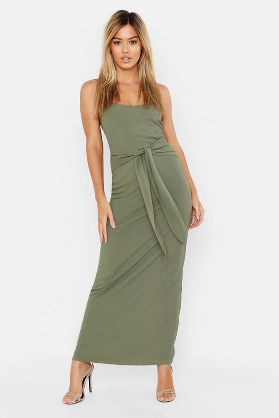 Womens Khaki Petite Rib Detail Maxi Dress