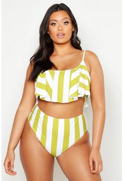 Womens Mustard Plus Stripe Frill High Waist Bikini