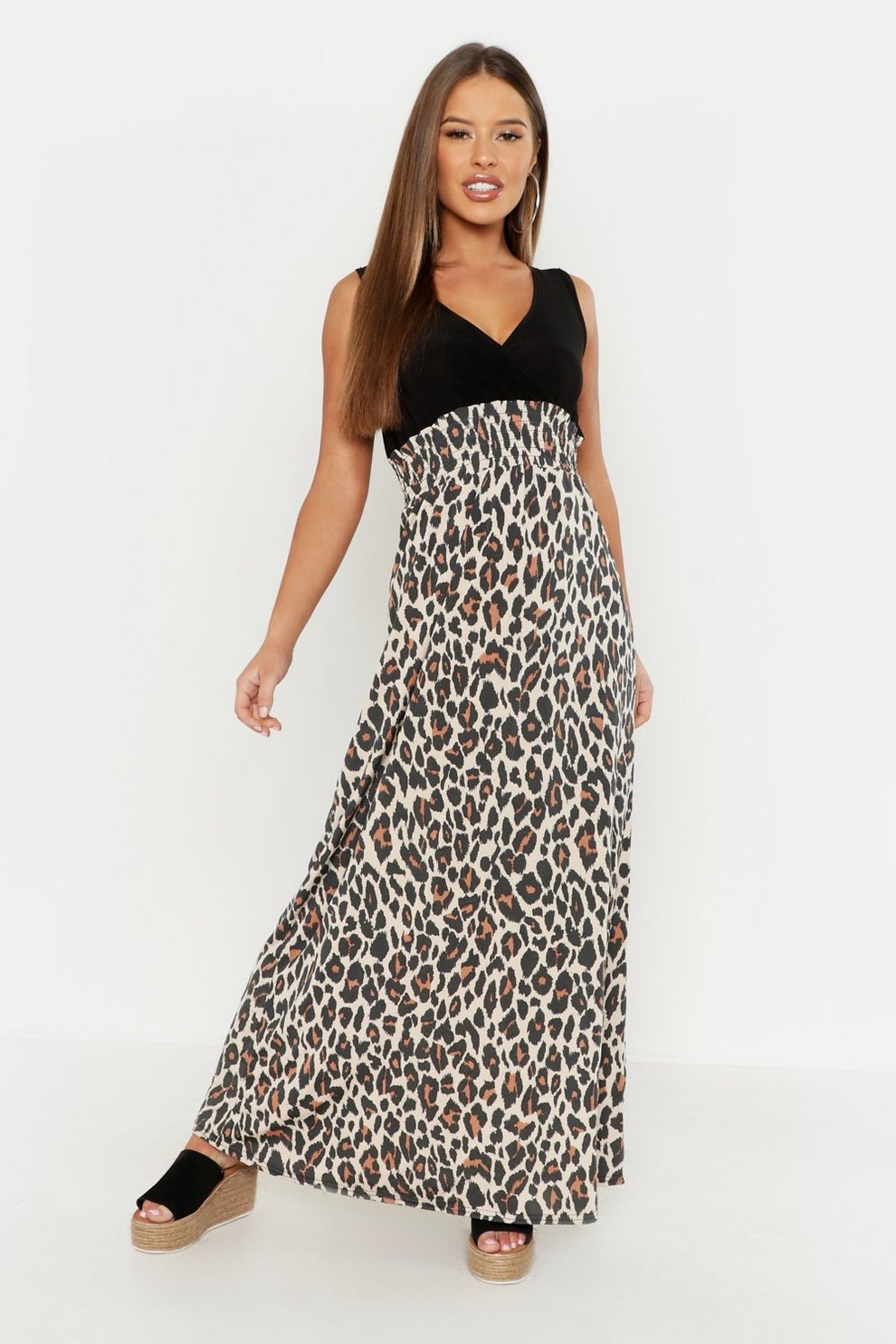 6242a21105 Womens Black Petite Leopard Print Maxi Dress. Hover to zoom