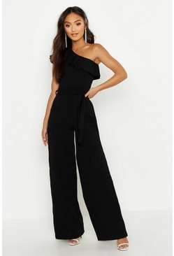 Womens Black Petite One Shoulder Frill Jumpsuit