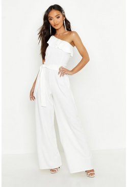 Womens White Petite One Shoulder Frill Jumpsuit
