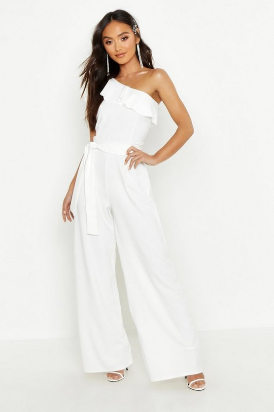 Petite One Shoulder Frill Jumpsuit, White, Donna