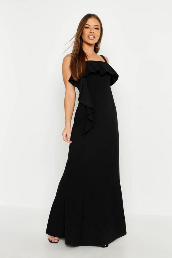 Petite Square Neck Ruffle Front Maxi Dress