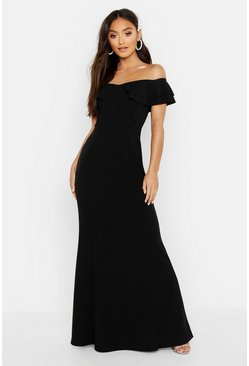 Black Petite Bardot Frill Fish Tail Maxi Dress