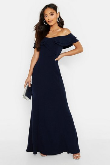 Navy Petite Bardot Frill Fish Tail Maxi Dress