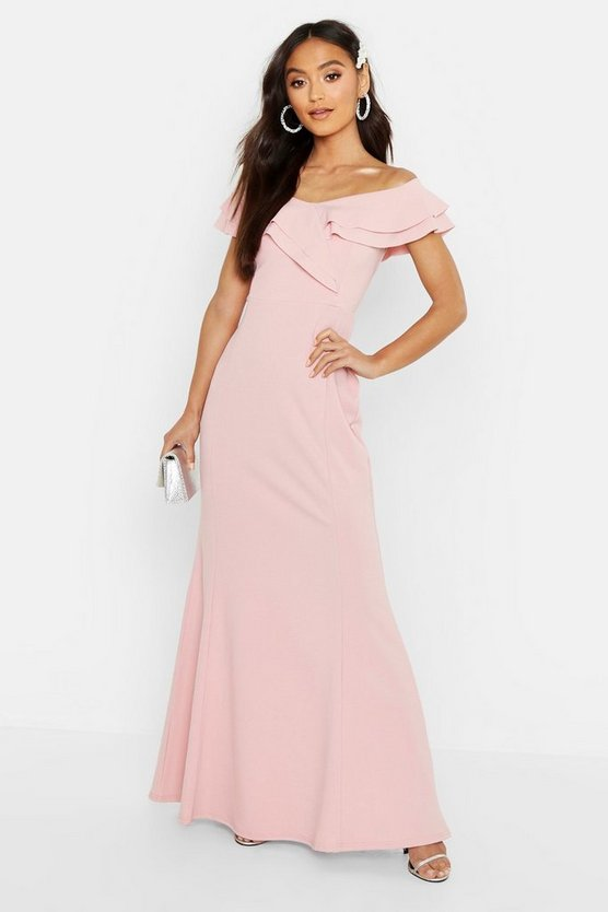 Womens Soft pink Petite Bardot Frill Fish Tail Maxi Dress