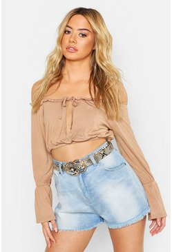 Womens Tobacco Petite Off Shoulder Tie & Frill Crop Top