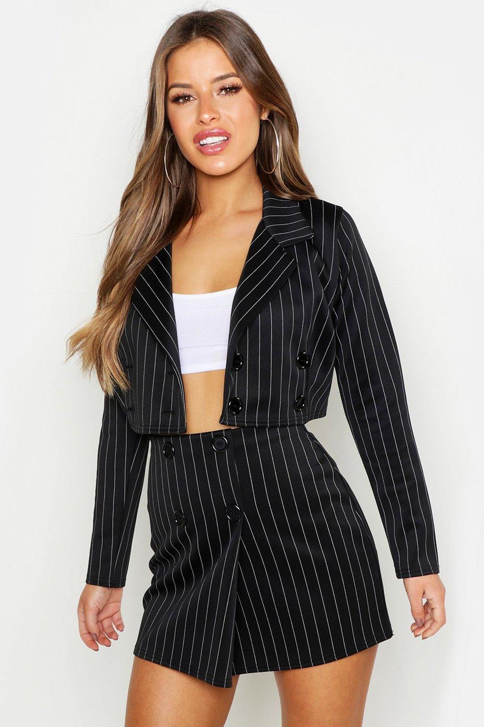 Women's Clothing Ladies Black Pinstripe Skirt Size 14