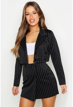 Womens Black Petite Pinstripe Mini Skirt