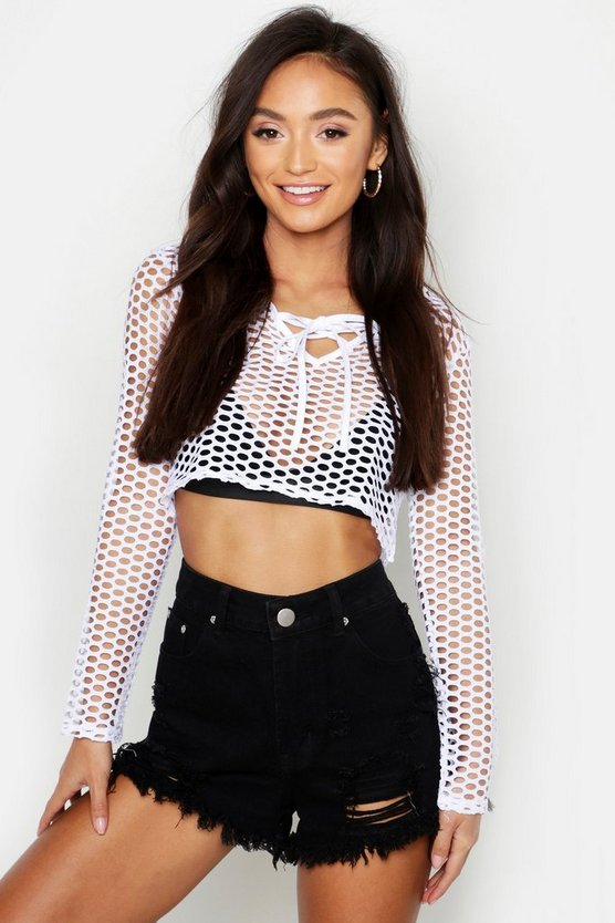 Womens White Petite Open Mesh Tie Detail Crop Top