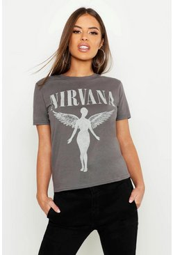 Petite Nirvana Licensed T-Shirt, Grey
