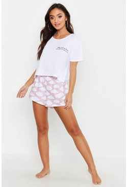 "Petite kurzes Pyjama-Set mit ""Why Fall in Love""-Slogan, Rosa, Damen"
