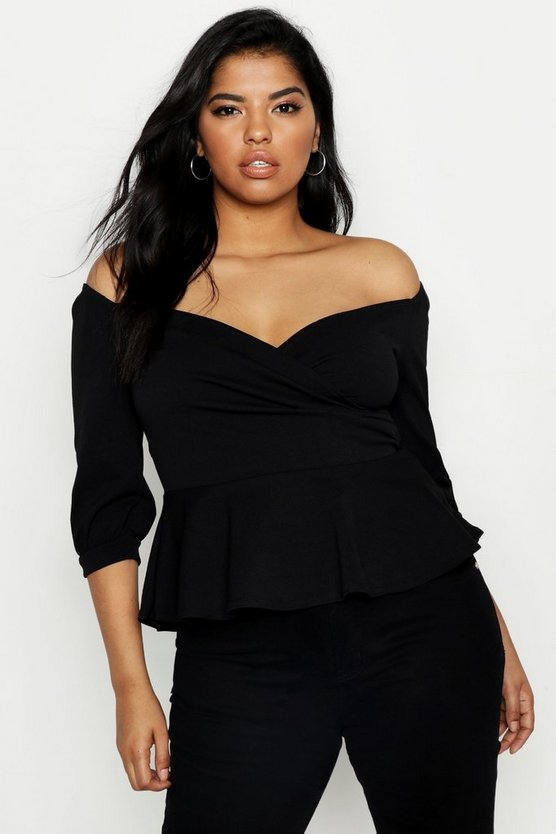 Womens Black Plus Ruffle Off The Shoulder Scuba Peplum
