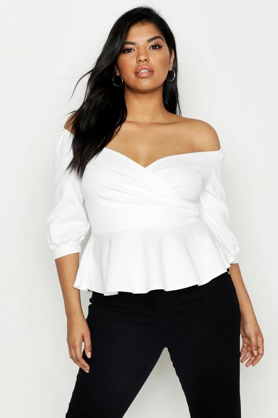 Womens White Plus Ruffle Off The Shoulder Scuba Peplum