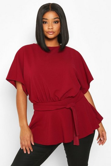 Womens Berry Plus Slash Neck Tie Waist Peplum Hem Top