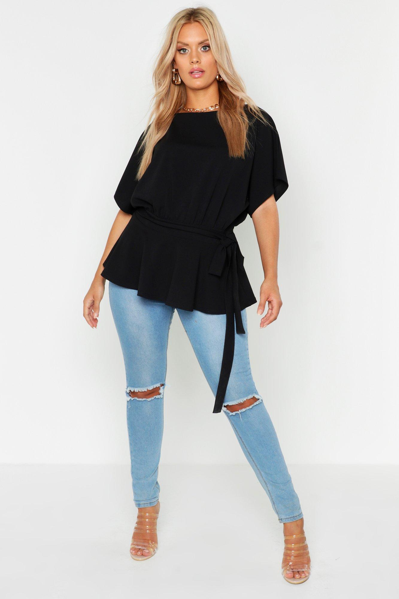 Plus V Neck Split Side Longline T-Shirt 7