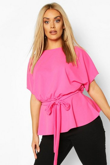 Womens Hot pink Plus Slash Neck Tie Waist Peplum Hem Top