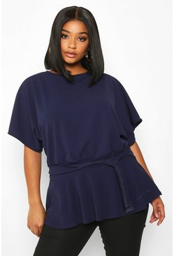 Navy Plus Slash Neck Tie Waist Peplum Hem Top