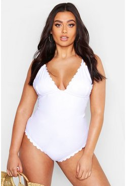 Womens White Plus Scallop Edge Swimsuit