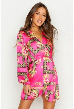 Womens Pink Petite Wrap Chain Print Dress