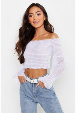 Ivory Petite Dobby Mesh Sheered Top