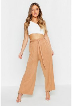 Womens Rust Petite Knitted Tie Waisted Trousers
