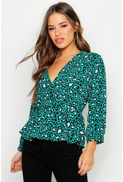 Womens Green Petite Wrap Animal Top