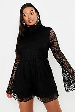 Plus Lace High Neck Flare Sleeve Romper