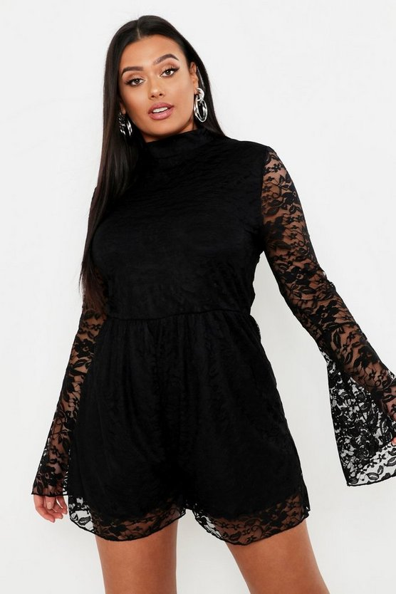 Womens Black Plus Lace High Neck Flare Sleeve Playsuit