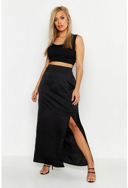 Womens Black Plus Satin Extreme Split Maxi Skirt