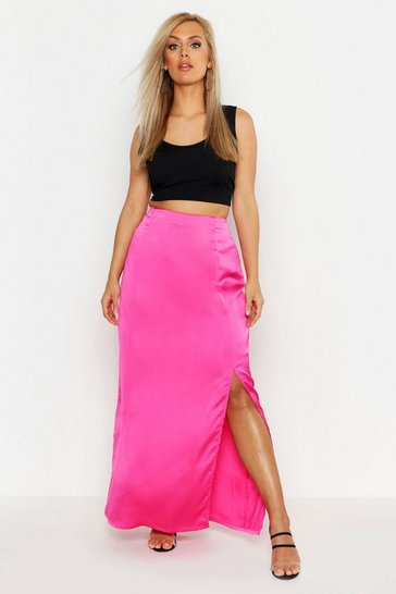 Womens Hot pink Plus Satin Extreme Split Maxi Skirt