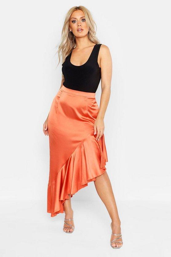 Plus Satin Ruffle Asymmetric Midi Skirt