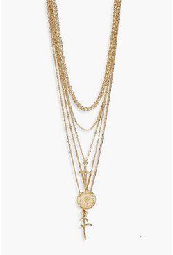 Plus Gold Cross Rose Pendent Detail Chain