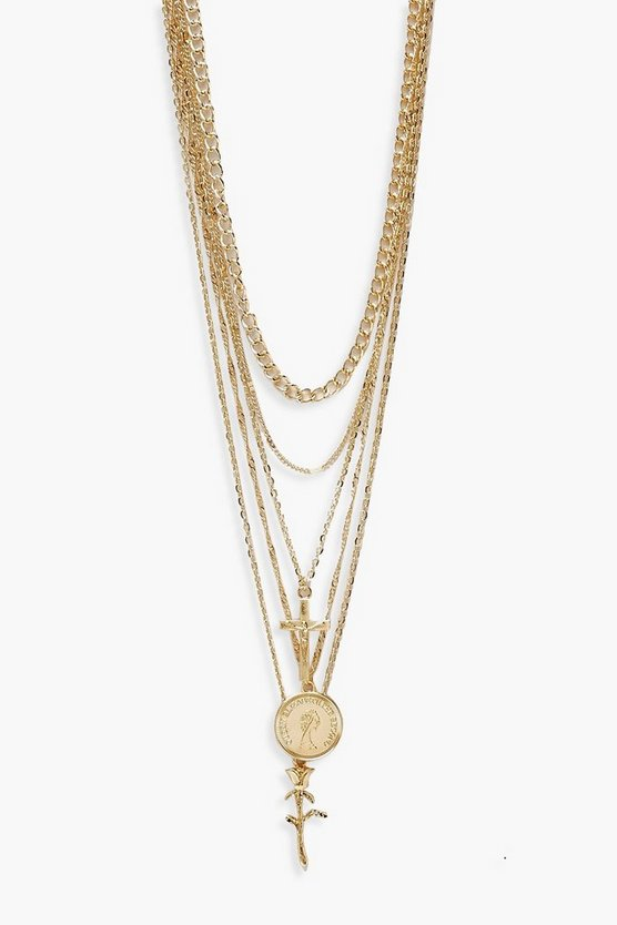 Womens Plus Gold Cross Rose Pendent Detail Chain