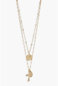 Womens Plus Gold Rose Pendent Choker
