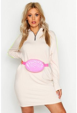 Womens Neon-pink Plus Neon Quilted Bum Bag