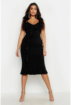 Womens Black Plus V Neck Ruffle Front & Hem Midi Dress