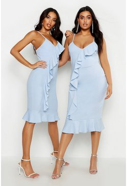 Womens Pastel blue Plus V Neck Ruffle Front & Hem Midi Dress