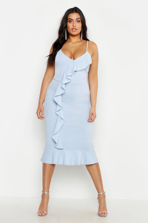 Plus V Neck Ruffle Front & Hem Midi Dress