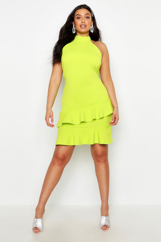 Plus Halter Neck Double Ruffle Mini Dress