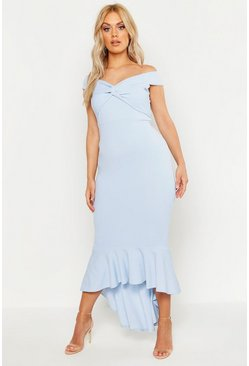 Womens Pastel blue Plus Bardot Knot Front Dip Hem Maxi Dress